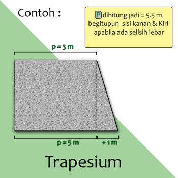 Cara Menghitung Kubikasi Bangunan bentuk Trapesium